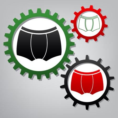 Man's underwear sign. Vector. Three connected gears with icons at grayish background. Banque d'images - 111994852