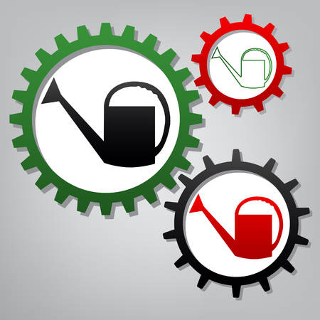 Watering sign. Vector. Three connected gears with icons at grayish background. Illustration