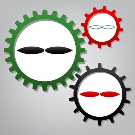 Flower sign. Vector. Three connected gears with icons at grayish background.