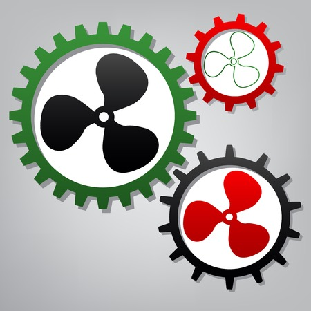 Fan sign. Vector. Three connected gears with icons at grayish background.