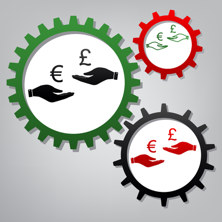 Currency exchange from hand to hand. Euro and Pound. Vector. Three connected gears with icons at grayish background. Çizim