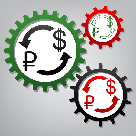 Currency exchange sign. Ruble and US Dollar. Vector. Three connected gears with icons at grayish background.