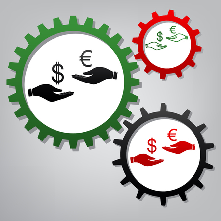 Currency exchange from hand to hand. Dollar adn Euro. Vector. Three connected gears with icons at grayish background. Stock Illustratie