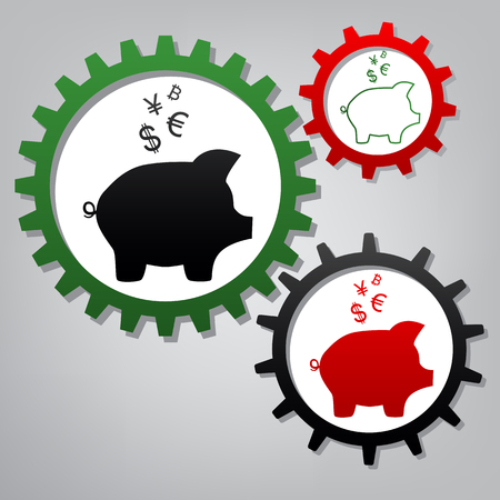 Piggy bank sign with the currencies. Vector. Three connected gears with icons at grayish background.