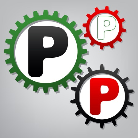Letter P sign design template element. Vector. Three connected gears with icons at grayish background.