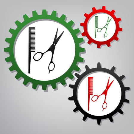 Barber shop sign. Vector. Three connected gears with icons at grayish background.