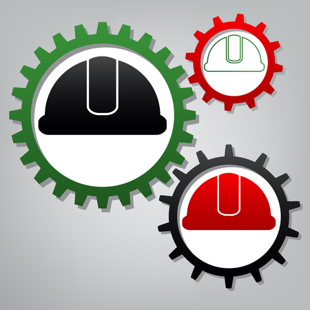 Hardhat sign. Vector. Three connected gears with icons at grayish background.