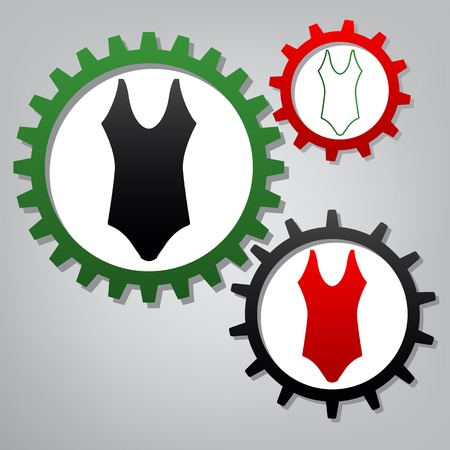 Womans swimsuit sign. Vector. Three connected gears with icons