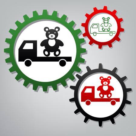 Truck with bear. Vector. Three connected gears with icons at grayish background.