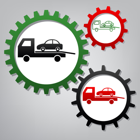 Tow car evacuation sign. Vector. Three connected gears with icons at grayish background.