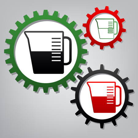 Beaker sign. Vector. Three connected gears with icons at grayish background.