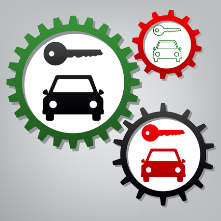 Car key simplistic sign. Vector. Three connected gears with icons at grayish background.