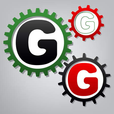 Letter G sign design template element. Vector. Three connected gears with icons at grayish background.