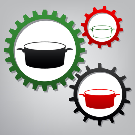 Pan sign. Vector. Three connected gears with icons at grayish background.