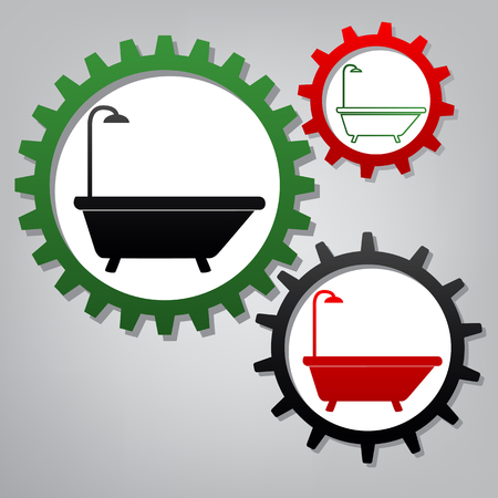 Bathtub sign. Vector. Three connected gears with icons at grayish background.