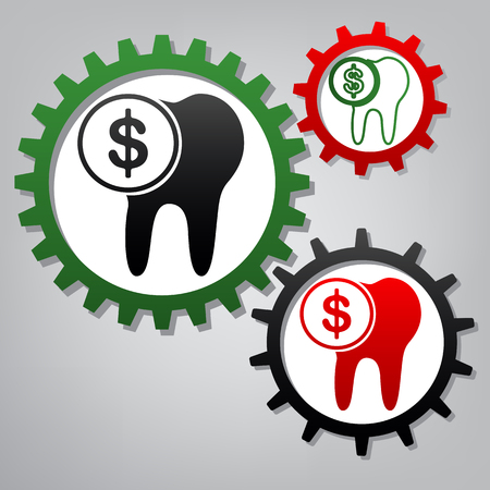 The cost of tooth treatment sign. Vector. Three connected gears with icons at grayish background.