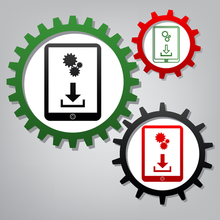 Phone icon with settings symbol. Vector. Three connected gears with icons at grayish background. Illustration