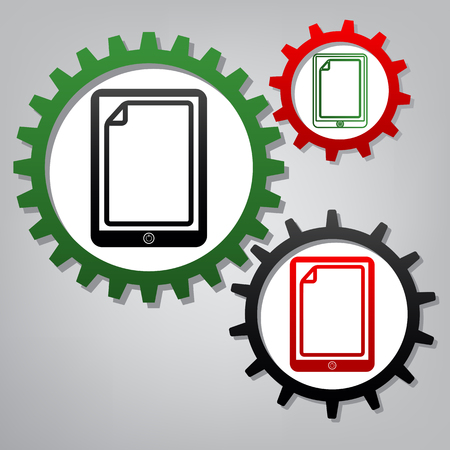 Protective sticker on the screen. Vector. Three connected gears with icons at grayish background.