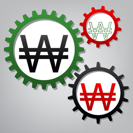 Won sign. Vector. Three connected gears with icons at grayish background.
