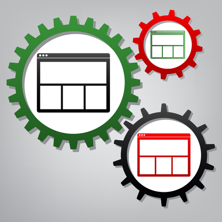 Web window sign. Vector. Three connected gears with icons at grayish background.