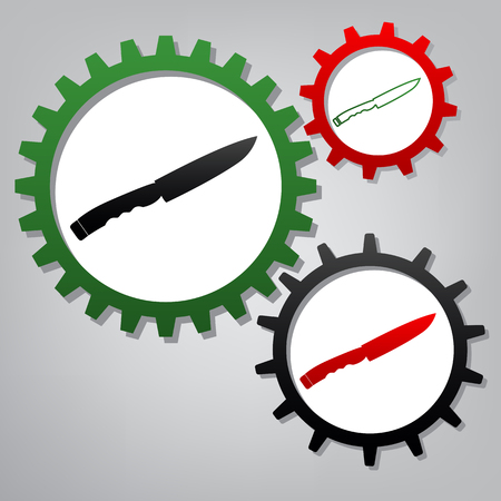 Knife sign. Vector. Three connected gears with icons at grayish background.