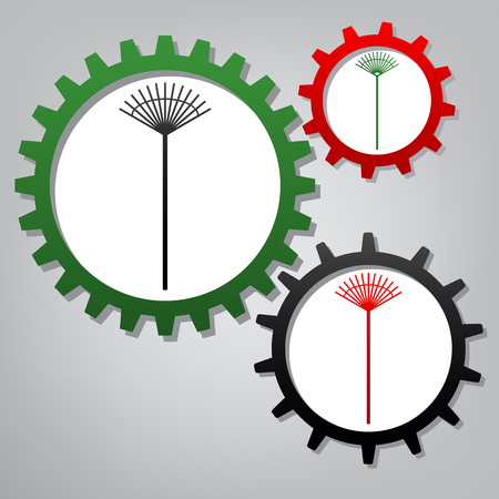 Lawn rake sign. Vector. Three connected gears with icons at grayish background. Illustration