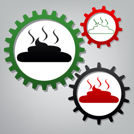 Simple Poop sign illustration. Vector. Three connected gears wit