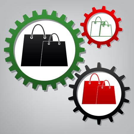 Signe de sacs à provisions. Vecteur. Trois engrenages connectés avec des icônes à fond grisâtre.