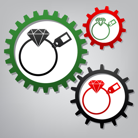Diamond sign with tag. Vector. Three connected gears with icons at grayish background.