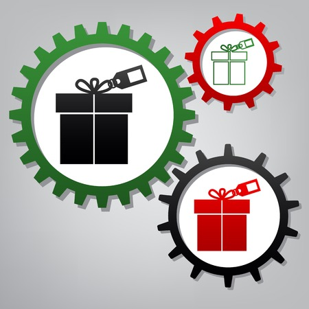 Gift sign with tag. Vector. Three connected gears with icons at grayish background.