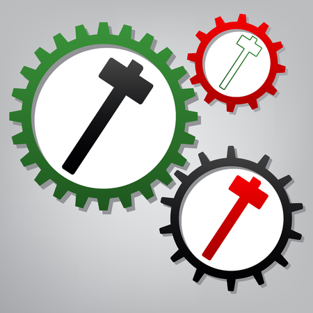 Hammer sign illustration. Vector. Three connected gears with icons at grayish background.