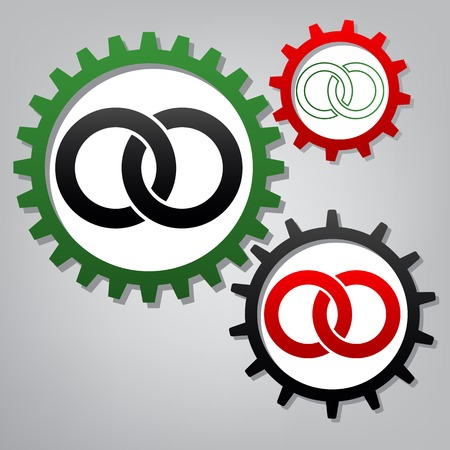 Wdding rings sign illustration. Vector. Three connected gears with icons at grayish background.