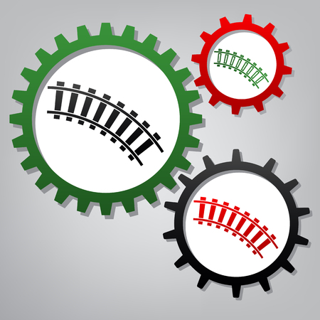 Railway sign. Curved track. Vector. Three connected gears with icons at grayish background.