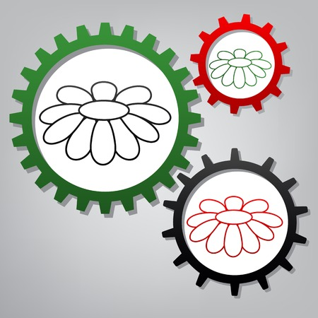 Fower Chamomile sign illustration. Vector. Three connected gears with icons at grayish background.