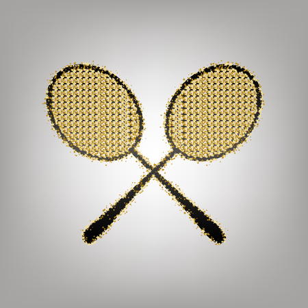 Two tennis racket sign. Vector. Blackish icon with golden stars at grayish background. Ilustração