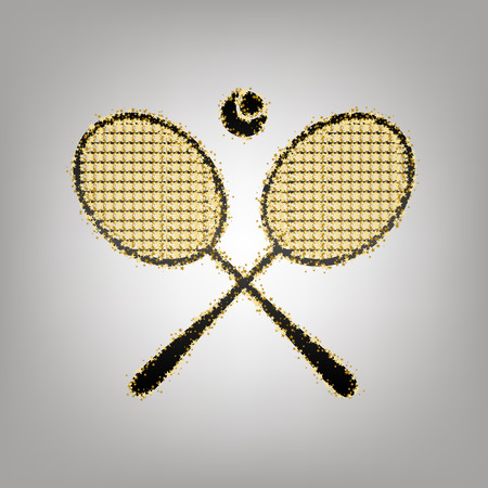 Two tennis racket with ball sign. Vector. Blackish icon with golden stars at grayish background. Ilustração
