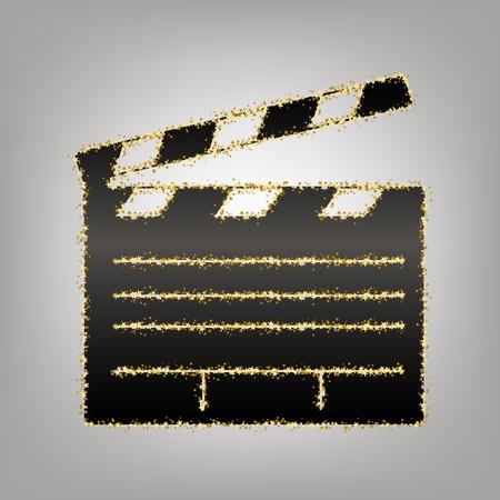 Film clap board cinema sign. Vector. Blackish icon with golden stars at grayish background. Vektorové ilustrace