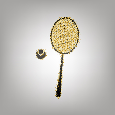 Tennis racquet with ball sign. Vector. Blackish icon with golden stars at grayish background.