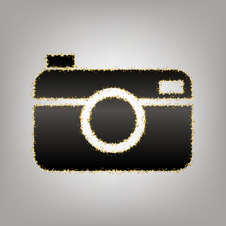Digital photo camera sign. Vector. Blackish icon with golden stars at grayish background.