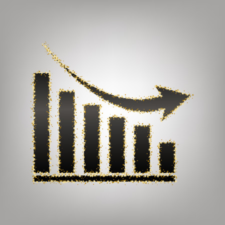 Declining graph sign. Vector. Blackish icon with golden stars at grayish background. Illustration