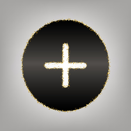 Positive symbol plus sign. Vector. Blackish icon with golden stars at grayish background.