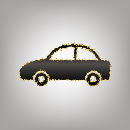 Car sign illustration. Vector. Blackish icon with golden stars at grayish background.