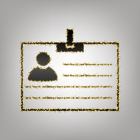 Id card sign. Vector. Blackish icon with golden stars at grayish background. Illustration