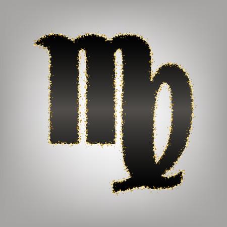 Virgo sign illustration. Vector. Blackish icon with golden stars at grayish background. Illustration