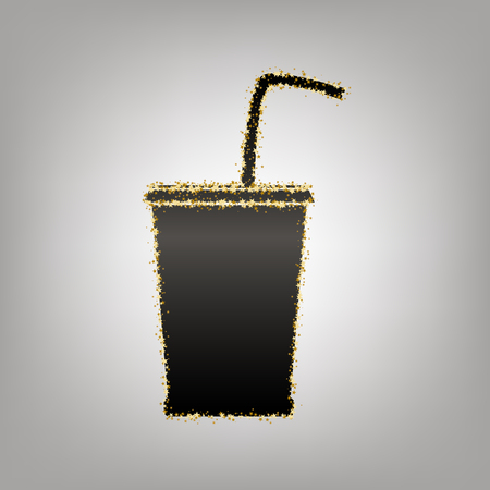 Drink sign illustration. Vector. Blackish icon with golden stars at grayish background.