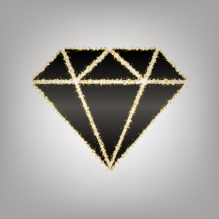 Diamond sign illustration. Vector. Blackish icon with golden stars at grayish background.