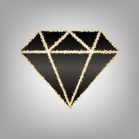 Diamond sign illustration. Vector. Blackish icon with golden stars at grayish background.