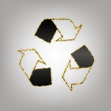 Recycle logo concept. Vector. Blackish icon with golden stars at grayish background. Ilustração