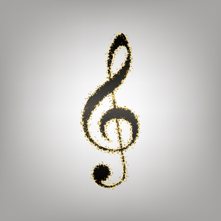 Music violin clef sign. G-clef. Treble clef. Vector. Blackish icon with golden stars at grayish background. Illustration