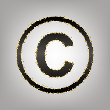 Copyright sign illustration. Vector. Blackish icon with golden stars at grayish background.